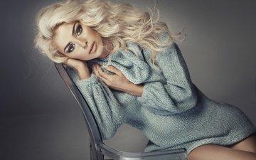 фон, блондинка, стул, модель, макияж, красотка, свитер, monika synytycz