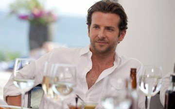 table, actor, male, glasses, bradley cooper