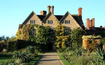 дорожка, кусты, дом, англия, газон, особняк, packwood house