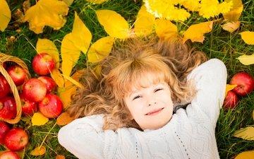 листья, яблоки, осень, ребенок, яблок, осен, дитя
