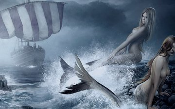 арт, рисунок, камни, море, туман, парусник, брызги, девушки, прибой, черепа, русалки, рифы, julio zartos