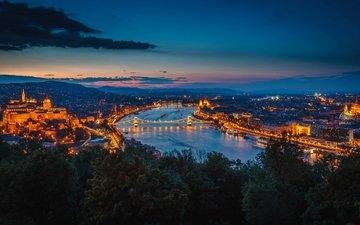 ночь, огни, река, мост, здания, венгрия, будапешт, дунай