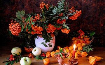 яблоки, яблок, натюрморт, физалис, рябина, cвечи