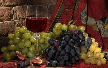 виноград, бокал, ягоды, кирпич, вино, платок, натюрморт, инжир