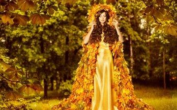 листья, девушка, платье, осень, креатив, женщина, осен, золотая, листья