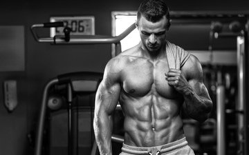black and white, male, man, figure, body, press, torso, power, bodybuilding, nude