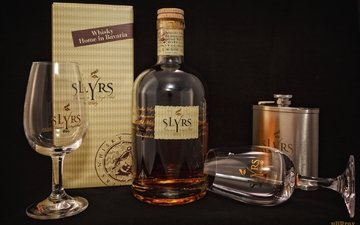 бокал, бутылка, коробка, алкоголь, виски, фляга