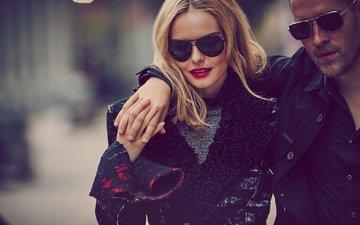 настроение, блондинка, очки, пара, прогулка, актриса, мужчина, макияж, прическа, фотосессия, пальто, боке, vs, guy aroch, кейт босворт