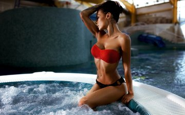 girl, pose, brunette, sitting, tattoo, photographer, figure, swimsuit, piercing, wet, jacuzzi, in the water, alex burn