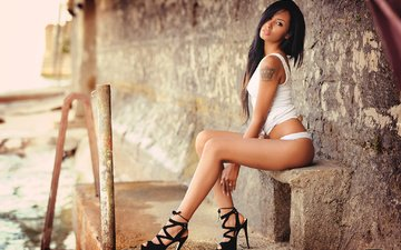 girl, brunette, look, panties, tattoo, photographer, figure, shoes, posing, mike, sitting, giovanni zacche