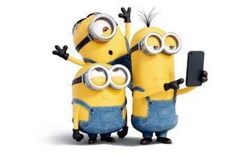 очки, мультфильм, белый фон, желтые, перчатки, трое, комбинезон, миньоны
