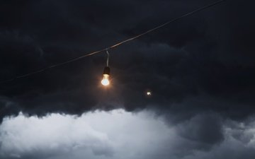 clouds, light bulb, wire