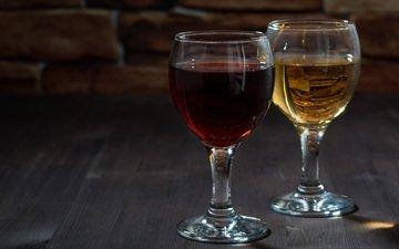 вино, напитки, белое, бокалы, красное