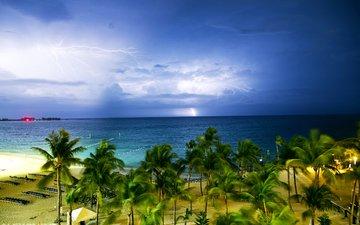 тучи, море, песок, пляж, горизонт, побережье, пальмы, молнии, тропики, багамы, пасмурно, багамские острова