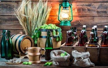фонарь, пшеница, пиво, бутылки, алкоголь, хмель