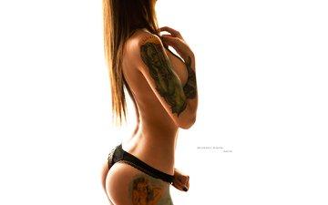 brunette, panties, tattoo, photographer, white background, figure, posing, is, sexy, slim, nikita shvedov