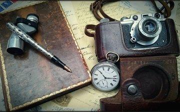vintage, retro, watch, the camera, letter, pen