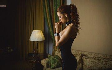 girl, curtains, room, photographer, figure, sofa, lamp, brown hair, mavrin