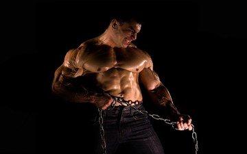 джинсы, цепь, мускулы, бодибилдер, мыщцы