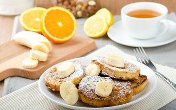 кофе, апельсин, чай, выпечка, банан, бананы, круасан, круассан, оладьи, варенье, baking