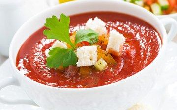 овощи, суп, сухарики, томатный, гаспаччо