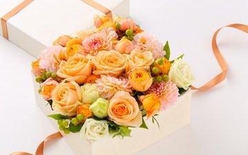 розы, подарок, роз, георгины, букеты