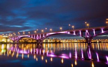 ночь, огни, река, отражение, города, мост, тайбэй, тайвань, китай, подсветка, кнр, ноч