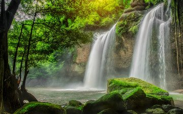 вода, камни, зелень, водопад, мох, потоки