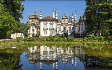 деревья, вода, зелень, отражение, кусты, дом, архитектура, пруд, португалия, особняк, португали, вила-реал