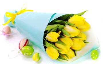 spring, bouquet, tulips, easter, yellow, bouquets