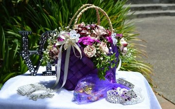 decoration, bouquet, rhinestones, jewelry, roses, bouquets
