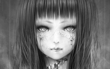 art, girl, rain, bouno satoshi