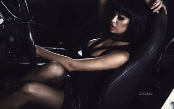 girl, brunette, auto, photographer, posing, the wheel, alex bazilev, nita kuzmina, seat, blackout