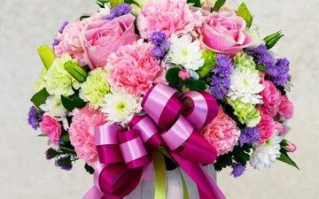 розы, букет, хризантемы, бант, гвоздики, роз, букеты, астры