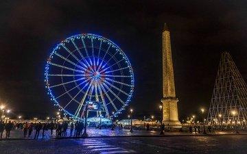 ночь, париж, франция, франци, ноч, карусель