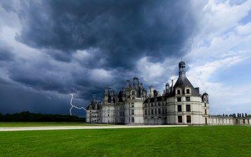 небо, тучи, молния, замок, франция, гроза, франци, chateau de chambord, шато шамбор