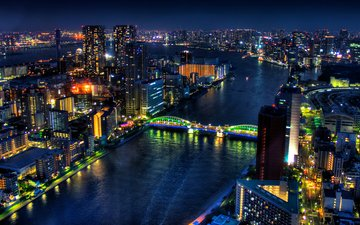 night, lights, river, bridge, japan, megapolis, building, tokyo