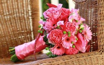 розы, розовые, герберы, роз, букеты, gerberas