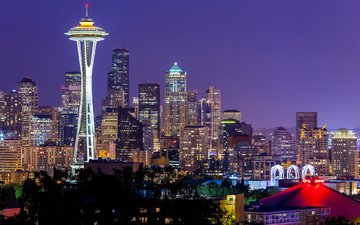 небо, ночь, огни, города, город, вашингтон, сша, сиэтл, space needle, неба, ноч, фиалка, сиреневое, спейс-нидл