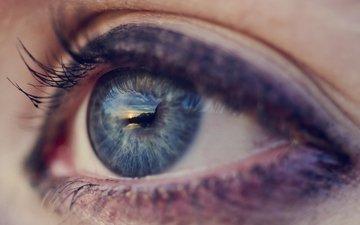 синий, голубой, глаз, макияж, зрачок, ресницы