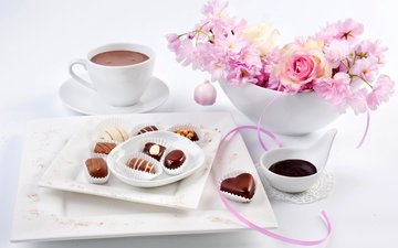 цветы, роза, конфеты, сакура, чашка, праздник, 8 марта, конфета, в шоколаде, какао, цветы