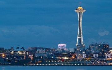 огни, вечер, города, город, вашингтон, залив, сша, сиэтл, space needle, бухта, вечернее, спейс-нидл