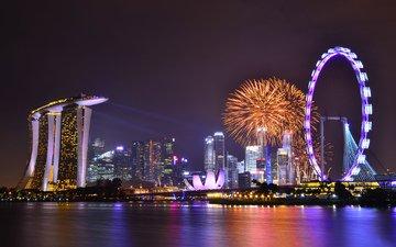 небо, облака, ночь, огни, отражение, небоскребы, мегаполис, залив, подсветка, архитектура, праздник, фейерверк, сингапур, город-государство