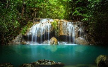 деревья, вода, камни, водопад, поток