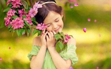 дерево, цветение, улыбка, радость, девочка, весна, счастье, детство, эмоции, блаженство