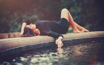 girl, fountain, legs, photographer, beautiful, lying, aaron woodall