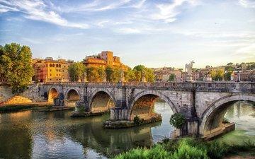 река, мост, дома, италия, рим