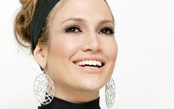 девушка, улыбка, портрет, взгляд, волосы, лицо, актриса, певица, макияж, дженнифер лопез, дженифер лопез