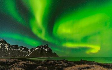 вода, горы, снег, природа, гора, северное сияние, исландия, аврора, ландшафт, на природе, vestrahorn, longexposure