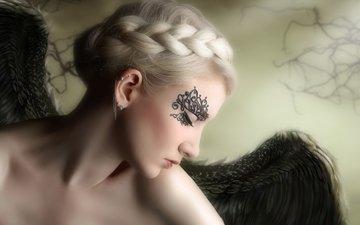 девушка, грусть, крылья, ангел, профиль, волосы, коса, серьга